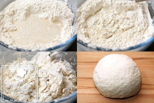 Плацинды с картошкой.Ингредиенты:Мука пшеничная — 550 гСоль — 1 ч. л.Картофель — 400 гЛук репчатый — ... - 2