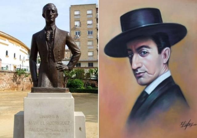 Памятник Манолете в Линаресе, Испания, и его портрет   Фото: world.lib.ru