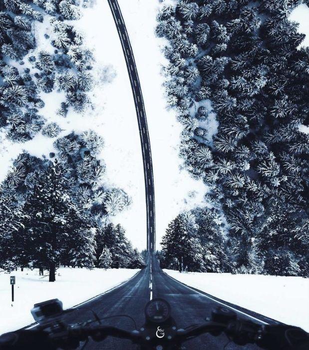 В своих картинах Саид Афхамзаде любит «играть» с горизонтом, превращая ровную дорогу с крутой спуск.