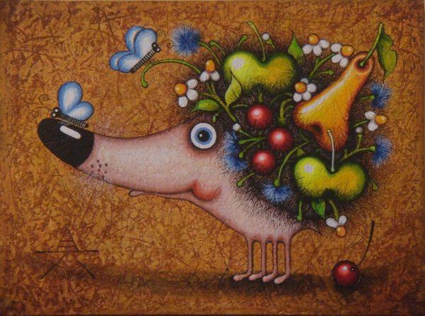 """Результат пошуку зображень за запитом """"Художник Алена Крутоголова. Ночной единорог и фруктовый ёж."""""""