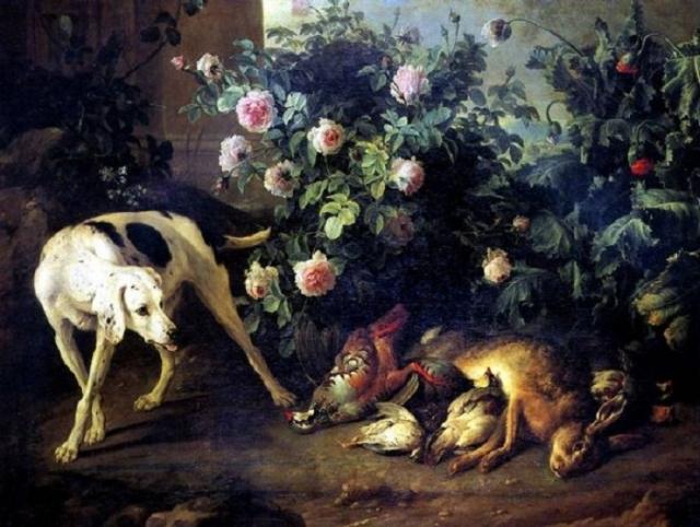 «Натюрморт с собакой и битой дичью у розового куста». Автор: Депорт Франсуа.