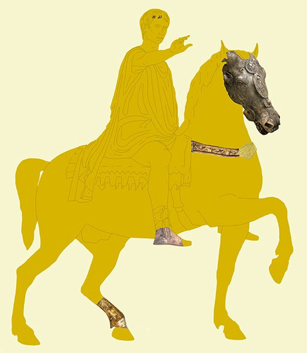 Предложение по реконструкции конной статуи компании Waldgirmes с учётом найденных фрагментов. / Фото: www.archaeologie-online.de