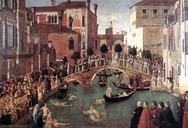 Чудо св. Креста у моста Сан-Лоренцо в Венеции. (1500). Джентиле Беллини.