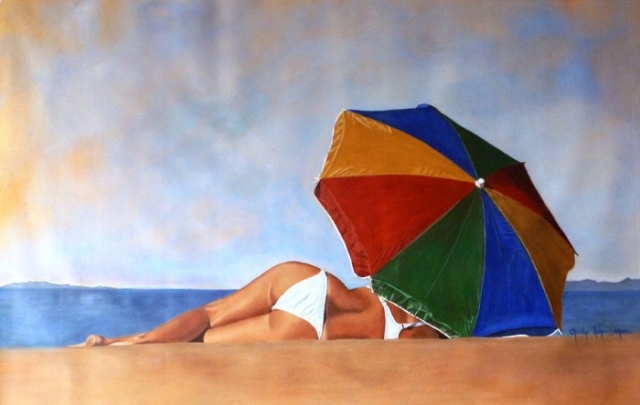 Цветной зонтик. Автор: Christine Thery Demore.