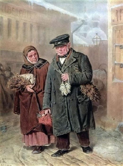 Знаменитая картина, на которой изображена пожилая супружеская пара, бредущая по многолюдному зимнему городу.