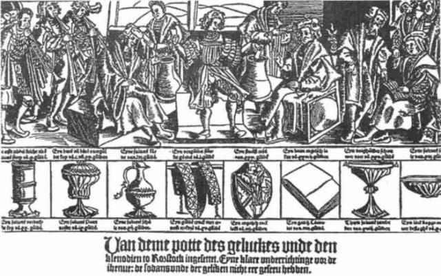 Гравюра-анонс средневекового лотерейного розыгрыша в городе Росток с рекламой призов./Фото: studfiles.net