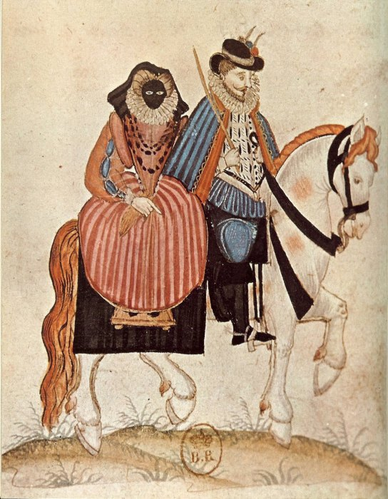 Мужчина и его жена, которая носит маску от солнца. Франция, 1581 год. | Фото: upload.wikimedia.org.