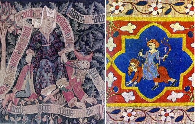 Аристотель и Кампаспа. (Гобелен). Исторический музей, Базель. Неизвестный автор.