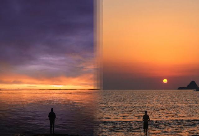 Восход на острове Ванкувер в Канаде и Восход на острове Порос в Греции.