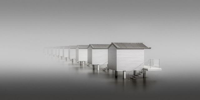 Хижины на побережье Эссекса в Великобритании