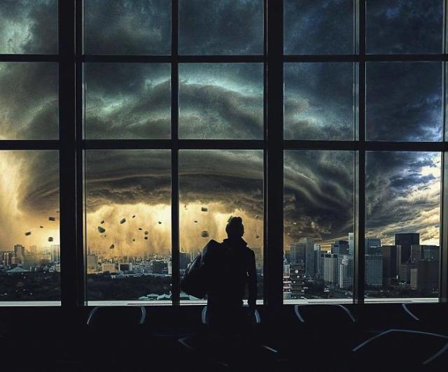 Завораживающая картина цифрового художника похожа на кадр из фильма-катастрофы.