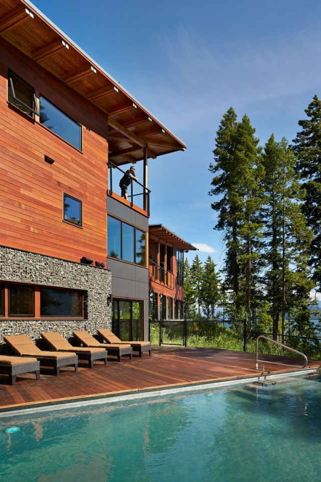 Дом в горах у озера от Johnston Architects - бассейн