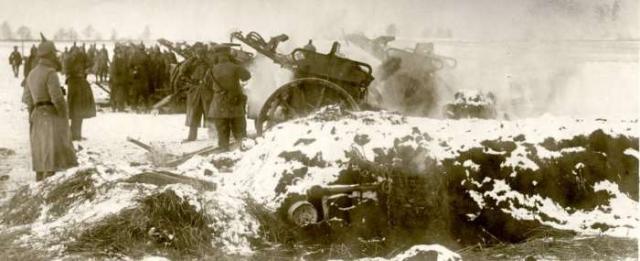 Работы немецкой артиллерии по российским позициям в январе 1914 года.